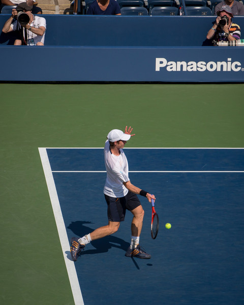 Andy Murray hits a forehand at the 2012 US Open