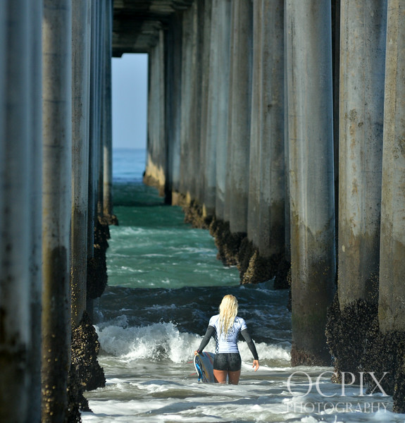 Tatiana Weston-Webb under the Huntington Beach Pier during the US Open of Surfing