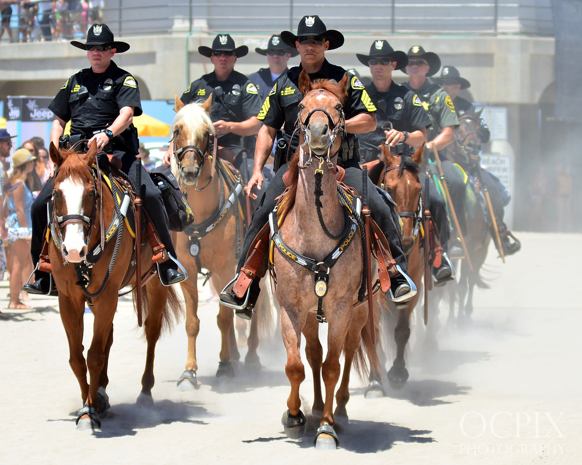 Mounted Police at the 2015 Vans US Open of Surfing in Huntington Beach