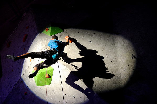 """Alex Johnson shows his skills during USA Climbing's Sport Climbing Series national championships at Movement Climbing and Fitness on Saturday, April 2, in Boulder. For more photos go to  <a href=""""http://www.dailycamera.com"""">http://www.dailycamera.com</a><br /> Jeremy Papasso/ Camera"""