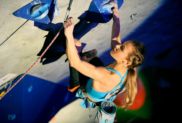 """Sasha DiGiulian shows her skills during USA Climbing's Sport Climbing Series national championships at Movement Climbing and Fitness on Saturday, April 2, in Boulder. For more photos go to  <a href=""""http://www.dailycamera.com"""">http://www.dailycamera.com</a><br /> Jeremy Papasso/ Camera"""