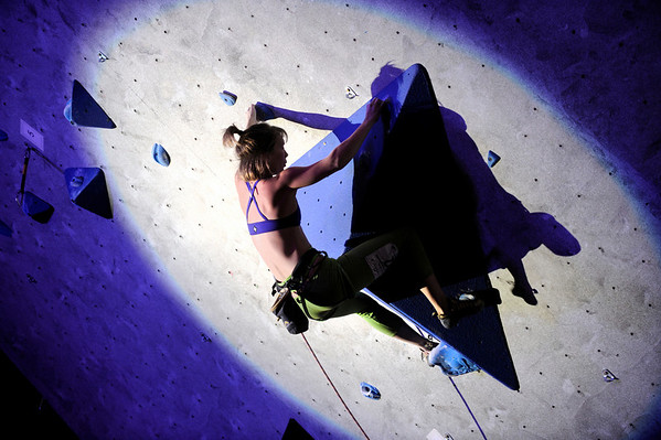 """Chelsea Rude shows her skills during USA Climbing's Sport Climbing Series national championships at Movement Climbing and Fitness on Saturday, April 2, in Boulder. For more photos go to  <a href=""""http://www.dailycamera.com"""">http://www.dailycamera.com</a><br /> Jeremy Papasso/ Camera"""