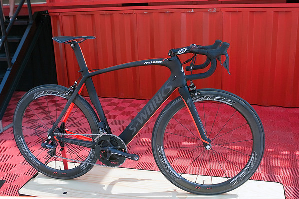 "Specialized's ""Halo"" bike - The McLaren Venge.  At $18,000, this is the most expensive bike I have seen.  A set of pedals will set you back a little more."