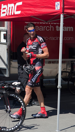 George Hincape.  This was his last day as a professional racer after an 18-year career.  His left leg looks like it is ready for retirement.
