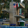 Diving Platform from which the flags of USA and HUN are hung