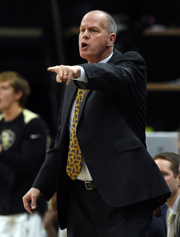 . CU coach, Tad Boyle in the USC game.   Cliff Grassmick / Staff Photographer/ February 21, 2018