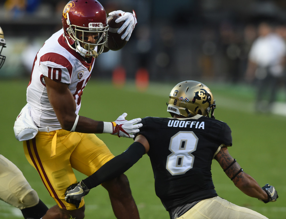 . Jalen Greene, of USC, tries to get past Trey Udoffia, of CU, during the November 11th, 2017 game in Boulder.  Cliff Grassmick / Staff Photographer/ November 11, 2017, 2017