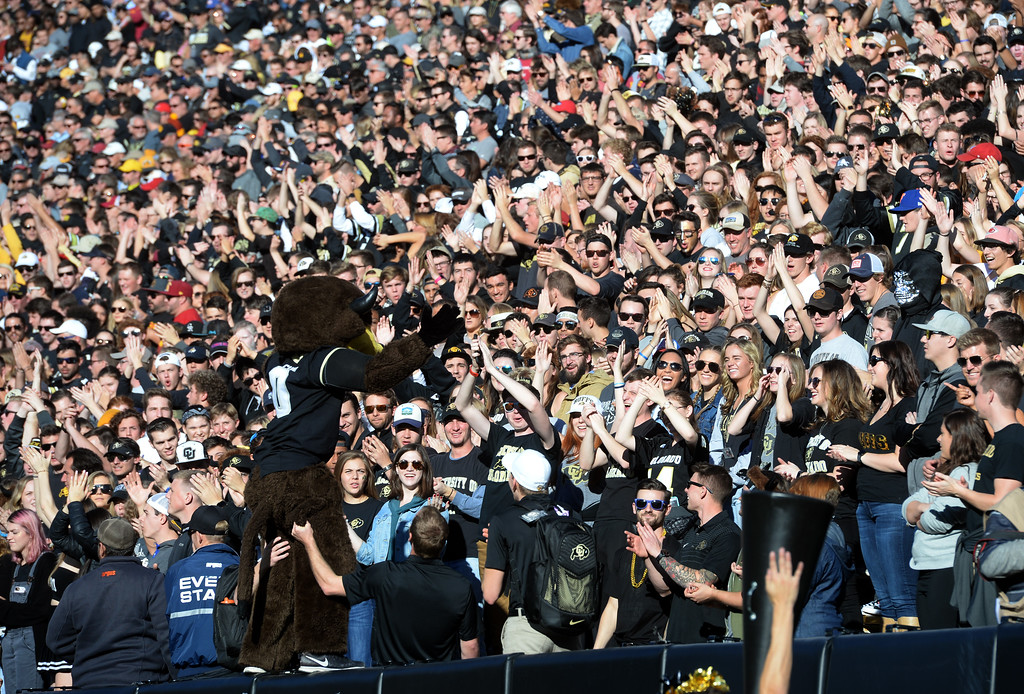 . Chip gets the student section fired up during the November 11th, 2017 game in Boulder.  Cliff Grassmick / Staff Photographer/ November 11, 2017, 2017