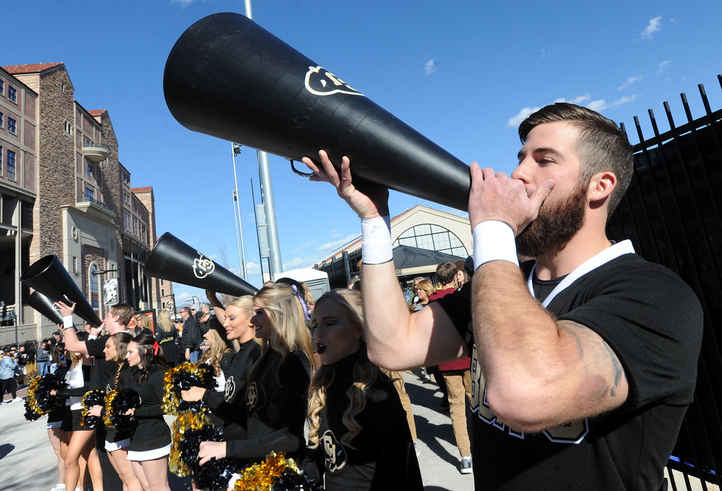 . Gabe Lozano gets the crowd fired up before the November 11th, 2017 game in Boulder.  Cliff Grassmick / Staff Photographer/ November 11, 2017, 2017