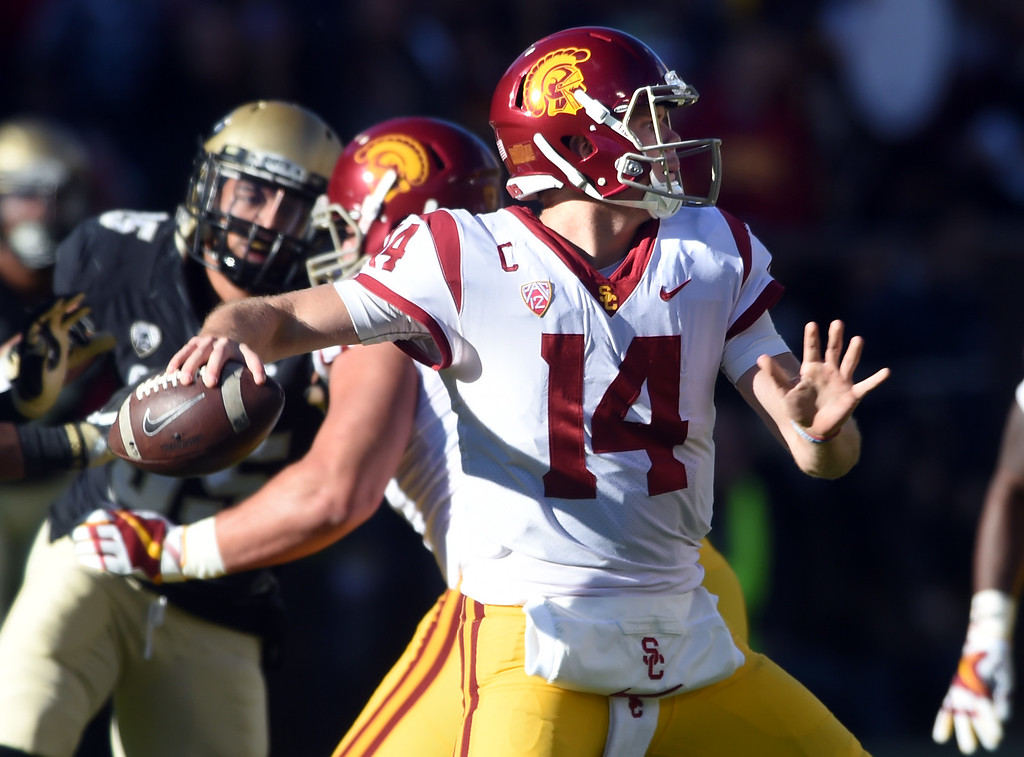 . USC QB, Sam Darnold, throws against the Buffs defense during the November 11th, 2017 game in Boulder.  Cliff Grassmick / Staff Photographer/ November 11, 2017, 2017