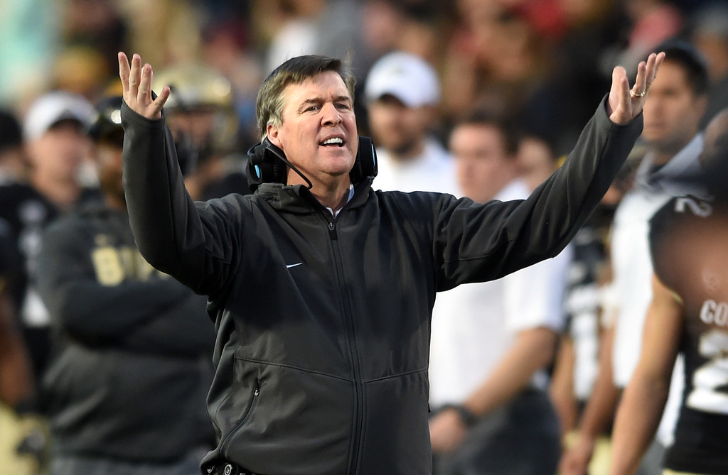 . Colorado head coach, Mike MacIntyre, not doing well late in the game during the November 11th, 2017 game in Boulder.  Cliff Grassmick / Staff Photographer/ November 11, 2017, 2017