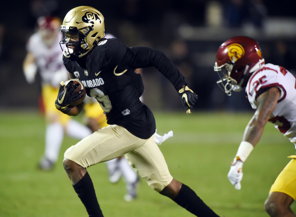 . Juwann Winfree, of CU, scores his second TD on a pass reception during the November 11th, 2017 game in Boulder.  Cliff Grassmick / Staff Photographer/ November 11, 2017, 2017