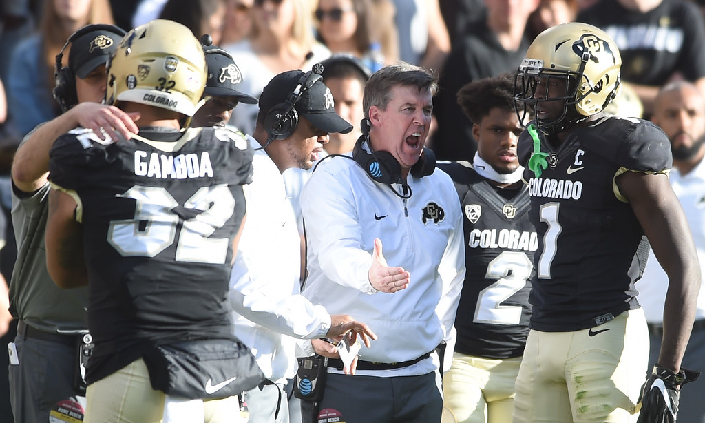 . CU head coach, Mike MacIntyre, has things to say during the November 11th, 2017 game in Boulder.  Cliff Grassmick / Staff Photographer/ November 11, 2017, 2017