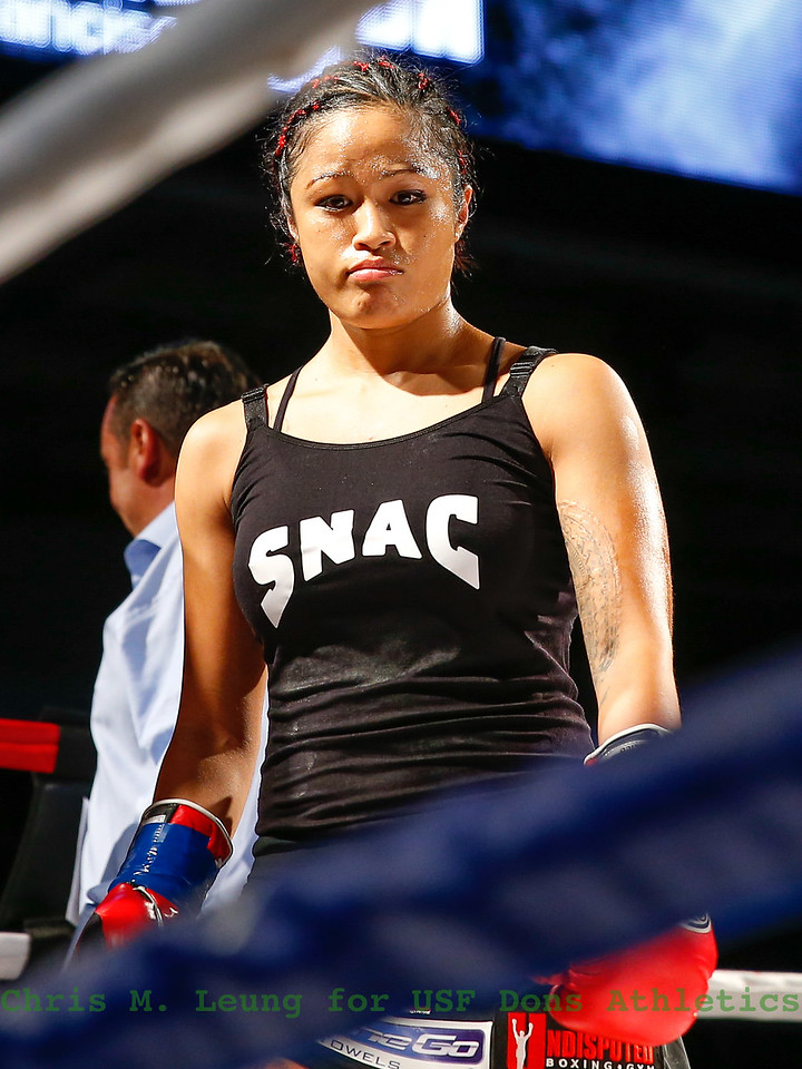9/30/16: Friday Night Fights at Sobrato Center in San Francisco, CA.  Casey Morton from Hawaii in the ring  before her fight. Image by Chris M. Leung for USF Dons Athletics