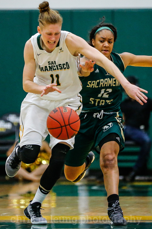 11/11/16: San Francisco Dons guard Rachel Howard (11) defends against Sacramento State Hornets guard Ashlyn Crenshaw (12) during the season opening game between USF and Sacramento State at War Memorial Gym in San Francisco, CA.  Image by Chris M. Leung for Chris M. Leung Photography