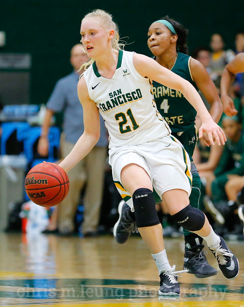 11/11/16: USF WBB vs Sacramento State at War Memorial Gym in San Francisco, CA.  Image by Chris M. Leung for Chris M. Leung Photography