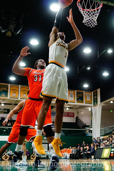 2/2/17: USF MBB vs Pepperdine at War Memorial Gymnasium in San Francisco, CA. Dons win 77-56. San Francisco Dons forward Nate Renfro (15). Image by Chris M. Leung