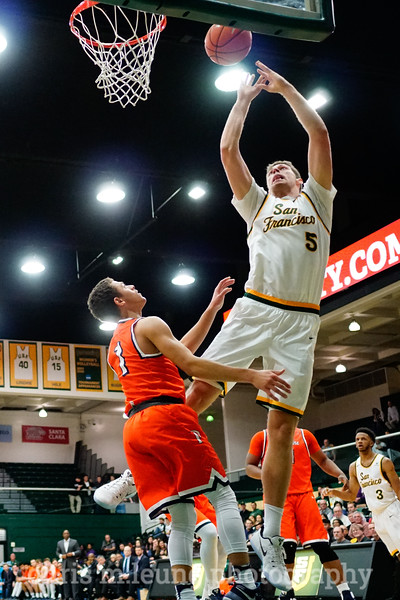 2/2/17: USF MBB vs Pepperdine at War Memorial Gymnasium in San Francisco, CA. Dons win 77-56.San Francisco Dons center Jimbo Lull (5).  Image by Chris M. Leung
