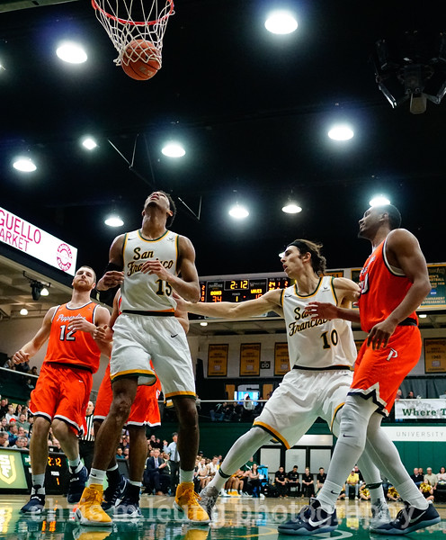 2/2/17: USF MBB vs Pepperdine at War Memorial Gymnasium in San Francisco, CA. Dons win 77-56. Pictured: San Francisco Dons forward Nate Renfro (15), San Francisco Dons forward Matt McCarthy (10). Image by Chris M. Leung