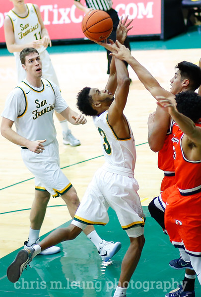 2/2/17: USF MBB vs Pepperdine at War Memorial Gymnasium in San Francisco, CA. Dons win 77-56 San Francisco Dons guard Ronnie Boyce (3) fights to take it to the hoop. Image by Chris M. Leung