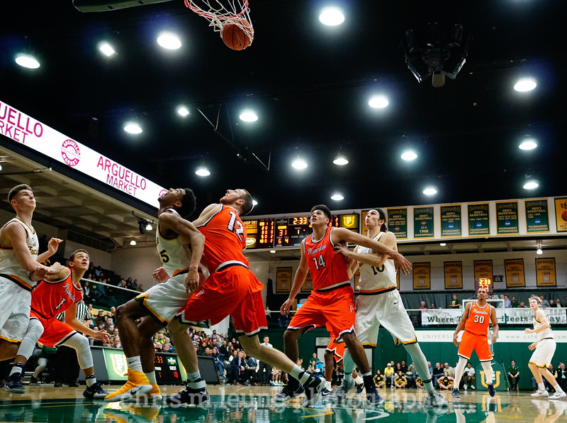 2/2/17: USF MBB vs Pepperdine at War Memorial Gymnasium in San Francisco, CA. Dons win 77-56. Pictured: San Francisco Dons forward Matt McCarthy (10), San Francisco Dons forward Remu Raitanen (11), and San Francisco Dons forward Nate Renfro (15). Image by Chris M. Leung