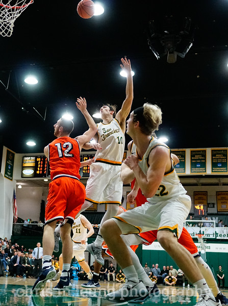 2/2/17: USF MBB vs Pepperdine at War Memorial Gymnasium in San Francisco, CA. Dons win 77-56. San Francisco Dons forward Matt McCarthy (10) for 2. Image by Chris M. Leung