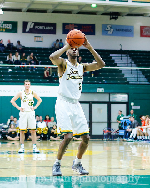 2/2/17: USF MBB vs Pepperdine at War Memorial Gymnasium in San Francisco, CA. Dons win 77-56.San Francisco Dons guard Ronnie Boyce (3).  Image by Chris M. Leung