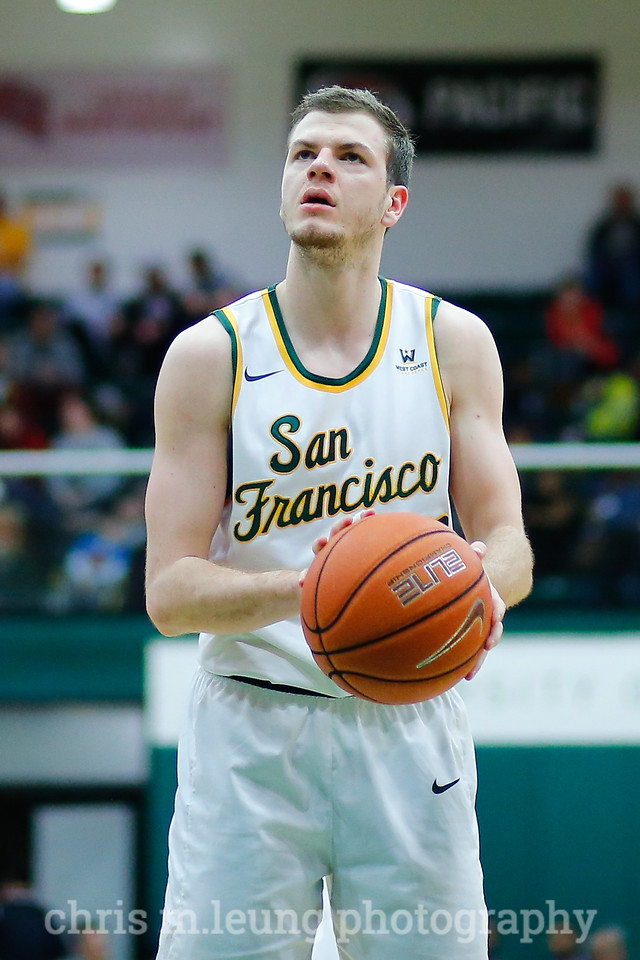 2/4/17: USF MBB vs LMU at the War Memorial Gymnasium in San Francisco, CA. Dons win 74-64. San Francisco Dons guard Mladen Djordjevic (45). Image by Chris M. Leung for USF Dons Athletics