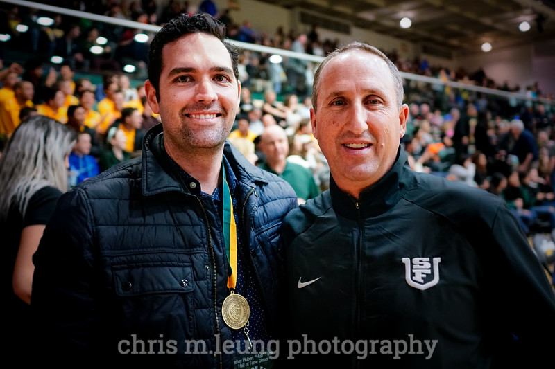 2/4/17: USF MBB vs LMU at the War Memorial Gymnasium in San Francisco, CA. Patrick McGuigan and Coach Nino Giarratano. Image by Chris M. Leung for USF Dons Athletics