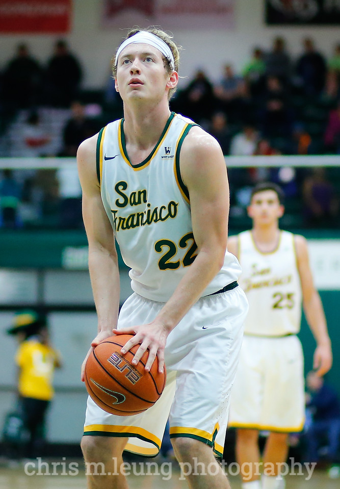 2/4/17: USF MBB vs LMU at the War Memorial Gymnasium in San Francisco, CA. Dons win 74-64.. San Francisco Dons forward Chase Foster (22). Image by Chris M. Leung for USF Dons Athletics