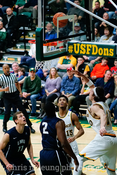 2/4/17: USF MBB vs LMU at the War Memorial Gymnasium in San Francisco, CA. Dons win 74-64. San Francisco Dons forward Nate Renfro (15), San Francisco Dons forward Matt McCarthy (10).  Image by Chris M. Leung for USF Dons Athletics