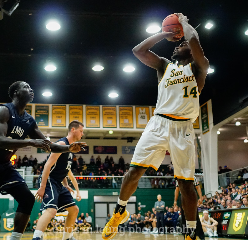 2/4/17: USF MBB vs LMU at the War Memorial Gymnasium in San Francisco, CA. Dons win 74-64., San Francisco Dons guard Charles Minlend (14). Image by Chris M. Leung for USF Dons Athletics