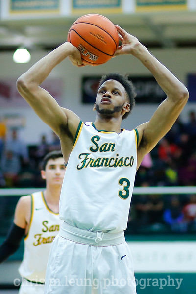2/4/17: USF MBB vs LMU at the War Memorial Gymnasium in San Francisco, CA. Dons win 74-64. San Francisco Dons guard Ronnie Boyce (3). Image by Chris M. Leung for USF Dons Athletics