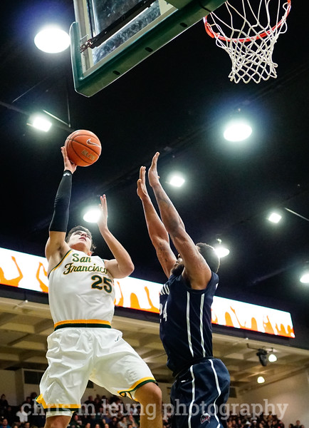 2/4/17: USF MBB vs LMU at the War Memorial Gymnasium in San Francisco, CA. Dons win 74-64. San Francisco Dons guard Jordan Ratinho (25). Image by Chris M. Leung for USF Dons Athletics