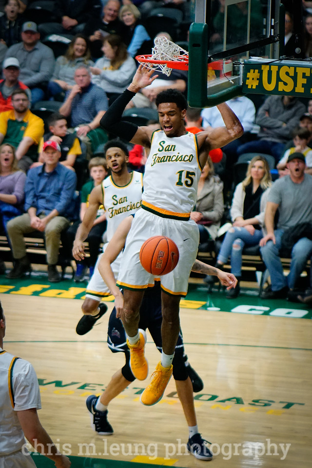 2/4/17: USF MBB vs LMU at the War Memorial Gymnasium in San Francisco, CA. Dons win 74-64. San Francisco Dons forward Nate Renfro (15). Image by Chris M. Leung for USF Dons Athletics