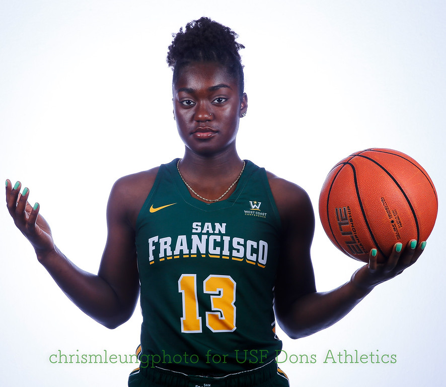 9/10/17: USF BB and Spirit Team Headshots at War Memorial Gym in San Francisco, CA.  Image by Chris M. Leung for USF Dons Athletics. #13 Nia Alexander
