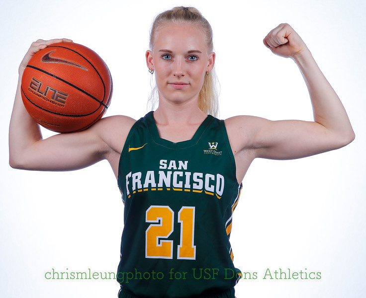 9/10/17: USF BB and Spirit Team Headshots at War Memorial Gym in San Francisco, CA.  Image by Chris M. Leung for USF Dons Athletics. #21 Anna  Seilund
