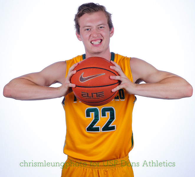9/10/17: USF BB and Spirit Team Headshots at War Memorial Gym in San Francisco, CA.  Image by Chris M. Leung for USF Dons Athletics. #22 Chase Foster