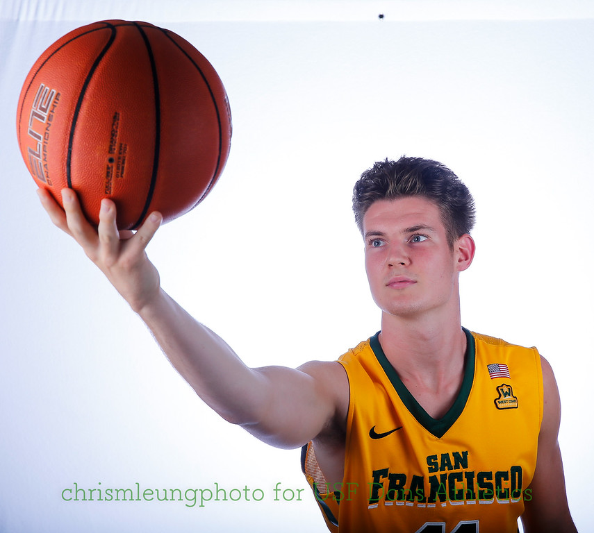 9/10/17: USF BB and Spirit Team Headshots at War Memorial Gym in San Francisco, CA.  Image by Chris M. Leung for USF Dons Athletics. #11 Remu Raitanen