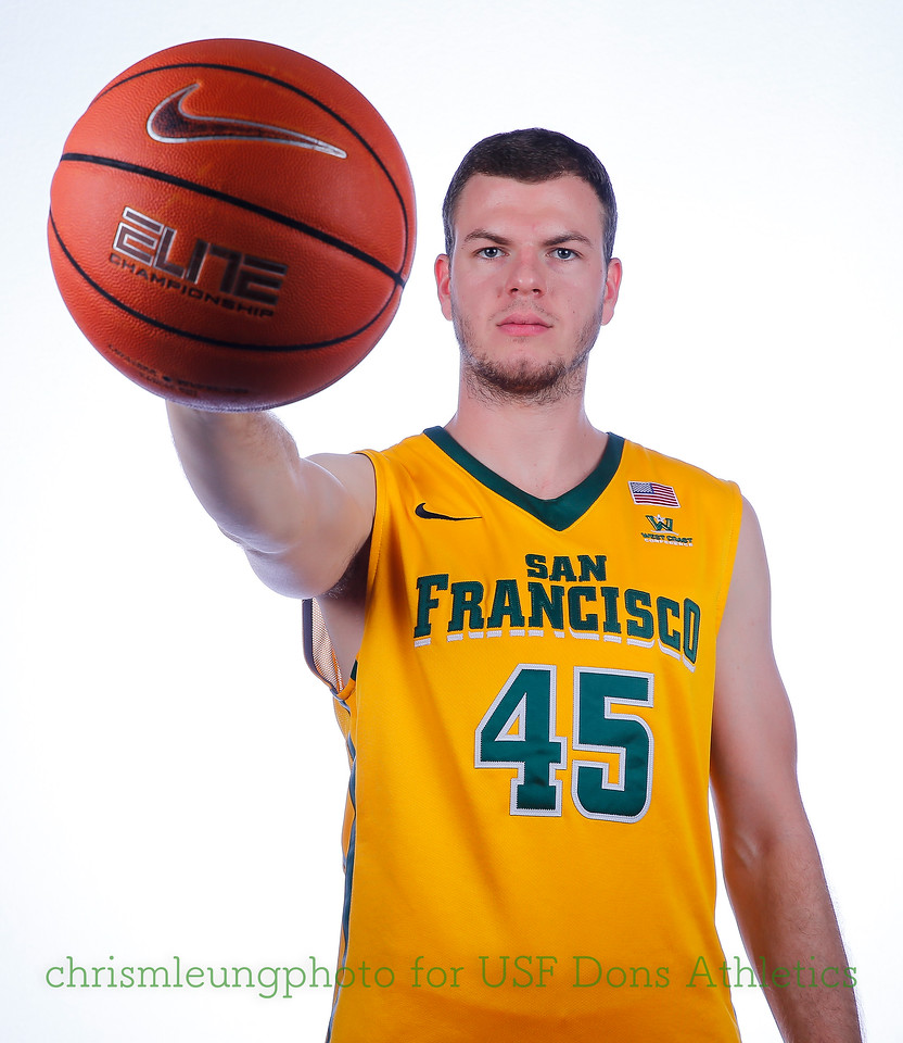 9/10/17: USF BB and Spirit Team Headshots at War Memorial Gym in San Francisco, CA.  Image by Chris M. Leung for USF Dons Athletics. #45 Mladen Djordjevic