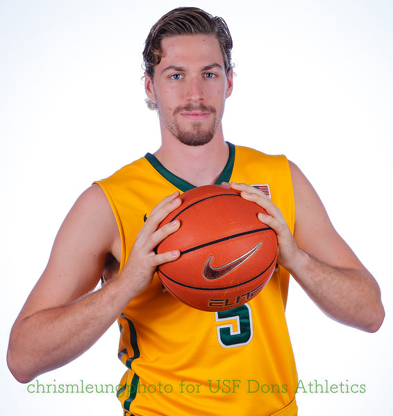 9/10/17: USF BB and Spirit Team Headshots at War Memorial Gym in San Francisco, CA.  Image by Chris M. Leung for USF Dons Athletics. #5 Jimbo Lull