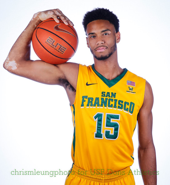 9/10/17: USF BB and Spirit Team Headshots at War Memorial Gym in San Francisco, CA.  Image by Chris M. Leung for USF Dons Athletics. #15 Nate Renfro