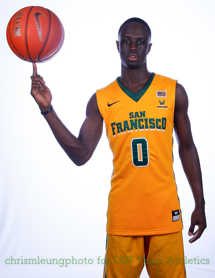 9/10/17: USF BB and Spirit Team Headshots at War Memorial Gym in San Francisco, CA.  Image by Chris M. Leung for USF Dons Athletics. #0 Souley <br /> Boum
