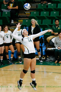 9/9/16: WVB vs St. John's at War Memorial Gym at the Sobrato Center in San Francisco, CA.  Image by Chris M. Leung for USF Athletics