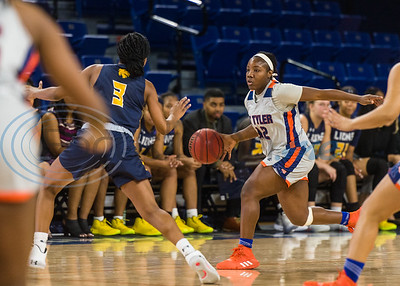 University of Texas at Tyler's Tyreesha Blaylock (12) dribbles the ball down court during game action against A&M-Commerce Saturday, Dec. 14, 2019, at the Louise Herrington Patriot Center in Tyler. (Cara Campbell/Tyler Morning Telegraph)