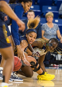 University of Texas at Tyler and A&M-Commerce players fight for the ball during game action Saturday, Dec. 14, 2019, at the Louise Herrington Patriot Center in Tyler. (Cara Campbell/Tyler Morning Telegraph)