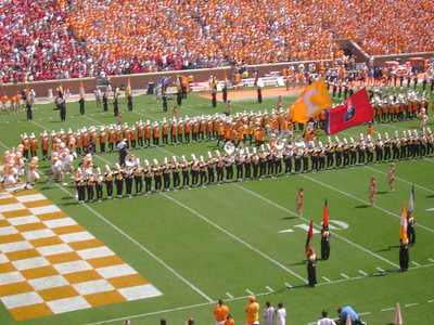 UT football players running out . . .