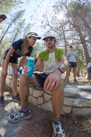 """An hour's lead and 50 miles to go.  Getting race strategy from his wife, """"Keep running."""""""