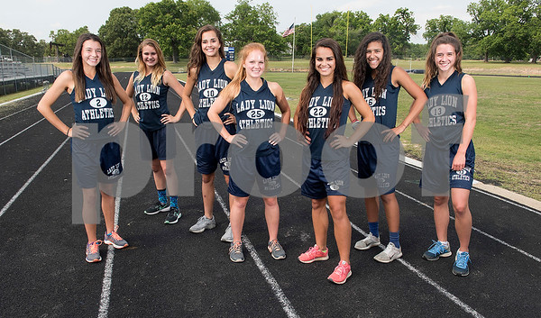 The Union Grove girls track is primed to not only bring home several medals at the UIL Class 2A state meet, but the Lady Lions are also eyeing an overall team championship. Team members are: Kyra Winn, Natalie Hammett, Summer Grubbs, Hanna Chambliss, Cheyenne Grubbs, Shayla Gallagher and Faith Graham. (Sarah A. Miller/Staff)