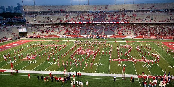 The Cougar Marching Band spells out COUGARS...